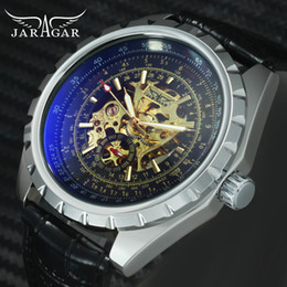 Wholesale JARAGAR Top Brand Luxury Chic Sports Mechanical Watch Men Skeleton Dial Gear Case Blue ray Leather Strap Auto Wristwatches Man