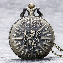 lannister pendant Australia - atches Pocket Fob Watches Game of Thrones House Lannister Lion Bronze Quartz Pocket Watch Men Women Pendant Necklace Cool Birthday Gift R...