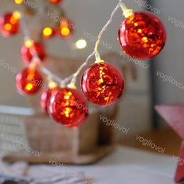 Wholesale Christmas Lights Red Ball Lamp M M Holiday Party Decorate D Red Ball Warm White Flash AAA Battery V V String DHL