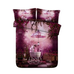 Chinese  Galaxy coverlet Girls Kids Butterfly Floral Print Bedding Galaxy Bed Set Mushroom Comforter Cover Moon Bedspread Starry Night Stars Coverlet manufacturers