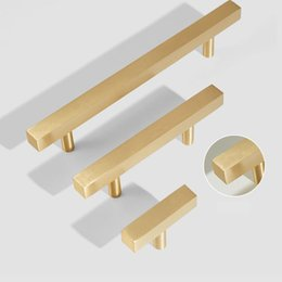 Brass Drawer Pull Handles Australia - Brushed Solid Brass Tbar Square Cabinet Handles Furniture Drawer Pulls Kitchen Cupboard Knobs pull handle free shipping