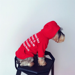 Blue vest hoodie online shopping - Cat Dog Thicken Sweater Letter Printing Sup Brand Autumn And Winter Hoodies Pet New Year Clothes Keep Warm Red aq C1