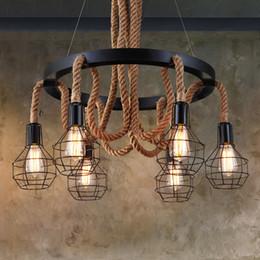 Rope light ceiling online shopping - JESS Retro Hemp Rope Industrial Pendant Lights LED Kitchen Lights LED lamp Bedside Hanging Lamp Ceiling Lamps Lighting Fixture