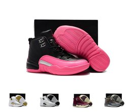 Pink Grey Basketball Shoes Australia - Kids Boys Girls 12 12s Athletic scarpe Basketball Shoes Childrens Pink White Blue Dark Grey Toddlers Basketball sports sneakers
