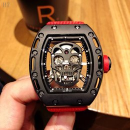 rectangle dial watches men 2019 - 2019 New Watch Mens Fashion Silicone Strap Rectangle Dial Skull Face Men Watches Wrist Watches 3D Scrub Dial Genuine dis