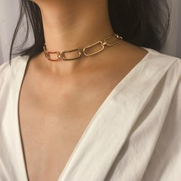 $enCountryForm.capitalKeyWord NZ - Hiphop Rock Chain Choker Necklace Vintage Personality Gold Silver Metal Necklace Neck Hoop for Women's Fashion Jewelry