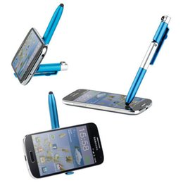 multi tablets Australia - 4 in 1 Foldable Ballpoint Pen Stylus Flashlight And Support For Tablet Cellphone Phone Holder Multi-function Folding Pen