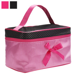 Large Cosmetic Bags Cases UK - New bow stripe cosmetic bag Necessaire travel storage box cosmetic case set wash toilet bag large waterproof