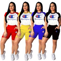 Polo Sportswear Australia - Women Champions Raglan Tracksuit Short Sleeve Polo T shirts + Shorts 2pcs set Sportswear Summer Stitching Color Outfits Jogger Set A4903