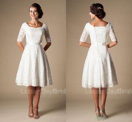 $enCountryForm.capitalKeyWord Australia - Short Wedding Dresses with Sleeves 2018 Modest Vintage 1920s' Lace Knee-length Outdoor Reception Informal Bridal Wedding Dress Budget Cheap