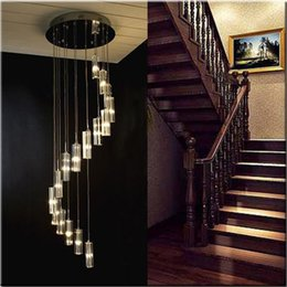 $enCountryForm.capitalKeyWord Australia - Modern Minimalist Fashion Transparent K9 Crystal Block S-shaped Duplex Staircase Pendant Chandelier Lighting Lamps Light For Hotel