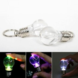 $enCountryForm.capitalKeyWord Australia - Night Luminous Keychain Glowing Flashlight Keychains Plastic Bulb Shaped Key Ring Mini Spiral bulb key chain