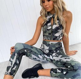 lady fitness wear NZ - Camouflage print lady yoga fitness fashion suit moisture wicking yoga clothes sports running suit Gym clothing Vest trousers Fitness Wear