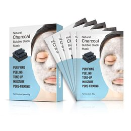 Korean Face Masks Australia - DHL 048 Natural Detox Oxygen Charcoal Bubble Black Sheet Mask Oil Control Face Mask Blackhead Removal Facial Mask Korean Skin Care