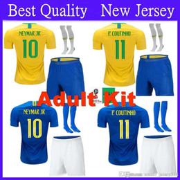 Adult Kit Brazil Soccer Jersey 2018 World Cup Set 10 NEYMAR JR Football  Shirts 9 G.JESUS 11 P.COUTINHO Soccer Jersey Kit Socks 164d27e5d