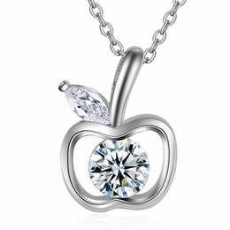 $enCountryForm.capitalKeyWord Australia - Hollow Out Apple Pendant Cubic Zirconia Fashion Jewelry Gift Ladies Short Chain Necklaces Embellished With Crystals From Swarovski WK99
