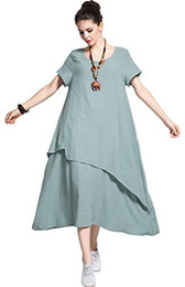 5aa8affb8b Anysize Retro Soft Linen Cotton Dress Spring Summer Plus Size Clothing Y112