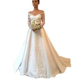 2018 V-neck Long Sleeve Wedding Dresses Button up Back Chapel Train Lace  Bridal Wedding Gowns Bride Dresses Vestido De Novia 2c70e93e4e1a