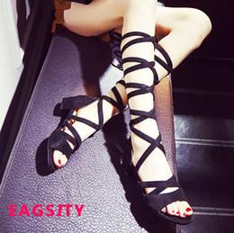 2c3ff38b82fa women block heels gladiator sandals slides pumps open toe party dancing sex  ladies shoes brown cross -tied strap