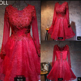 Real Sexy Pictures NZ - Real picture a line wine lace long sleeve short cocktail prom dress beading appliques sheer back sexy petite girls cocktail prom gowns