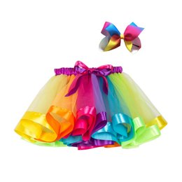 girls short pleated skirts UK - Baby Girls Skirt 2ps Summer Mesh Rainbow Color Matching High Waist Skirt Cute Toddler Short Pleated Sweet Skirt+Hairband 2-7T