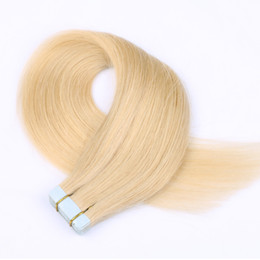 China Moresoo Tape Human Hair Extensions Straight Remy Hair Seamless Skin Weft Bleach Blonde Color #613 20pcs 50g Glue in Hair Extensions Real Hum suppliers