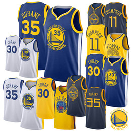 7038e7eea60 2019 Cheap Jerseys Klay 11 Thompson Golden Stephen Curry State 35 Kevin  Durant Warriors White Cool Breathable Jersey