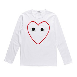 red white heart cotton Australia - Fashion Commes 19 New Red Heart Long-sleeved T-shirt Des Garcons Men Women Off Round Neck Cotton Bottoming Shirt Sleeve White Shirts