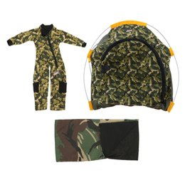 Discount outdoor girls tent - Fashion 1:6 Dolls Outdoor Camping Tents Camouflage Sleeping Bag and Clothes For Soldier Doll Accessories Scene Cosplay T
