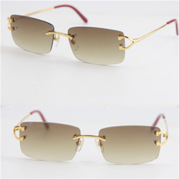 Wholesale Selling Fashion Sunglasses UV400 Protection Rimless Sunglasses popular fashion men Woman Large Square glasses outdoors driving glasses Hot