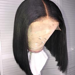 Black real human hair wigs online shopping - 4x4 Lace Closure Wig Bob Virgin Brazilian Straight Real Cheap Short Bob Lace Front x4 Human Hair Wigs For Black Women Pre Plucked