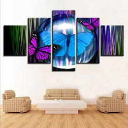 wall art purple canvas frame NZ - Modern Decoration Home Living Room Art Canvas Pictures 5 Pieces Purple And Blue Butterfly Posters Paintings Modular Wall Prints
