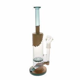 Gun Water Bong Australia - Brown wavy interior green pattern handmade Glass Smoke Gun Beaker glass bong with grace design straight tube beaded qround glass water bong