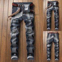 Tuta aderente da uomo aderente in tinta unita in denim tinta unita in jeans buco attillato slim denim antigraffio di alta qualità # 7
