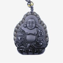 jade buddha charms UK - Fine Jewelry Natural Obsidian Stone Hand Carved Black Buddha Zen Charm Pendant Necklace Free Shipping