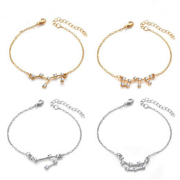 zodiac gold charms Canada - Designer 12 Zodiac Bracelet Diamond Alloy Silver Gold Plated Constellation Chain Wristbands Fashion Jewelry Accessories Wholesale