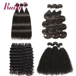 Discount kinky straight hair extensions - 3 Bundles Peruvian Malaysian Indian Brazilian Virgin Hair Weave Bundles Straight Body Wave Deep Wave Kinky Curly Human H
