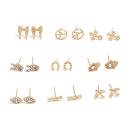 Man Made Diamonds Australia - 9 sets Gold color alloy palm artificial diamond ear studs eardrop pendant Women Brand girlfriend boyfriend gift crafts dinner accessoriese