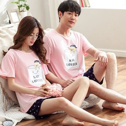 Wholesale men s sexy summer pajamas for sale - Group buy Pink Cute Couple s Pajamas set Summer Short Sleeved Cotton Thin Large Size Loose Men Women s Two Piece Suit Casual Tops Summer
