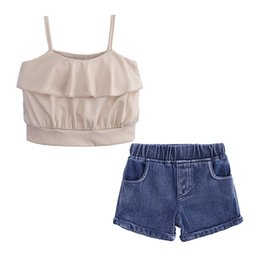 girls jeans top baby Canada - Ins Summer Baby Girls Set Kids Strap Mini Sun-top + Jeans Denim Shorts Girl 2pcs Clothes Set Children Outfits Clothing Suits 14384