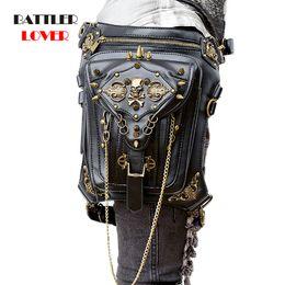 $enCountryForm.capitalKeyWord Australia - Unisex PU Leather Motorcycle Rider Hip Hop Men Belt Skulls Waist Bags Punk Rock Rivet Messenger Shoulder Cross Body Bag Women