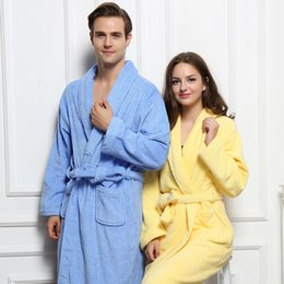 ff7f2611ce 100% Cotton Bathrobe Women Thick Towel Fleece Bathrobe Winter Autumn Terry  Pajamas Nightgown Sleepwear long Home Nightwear