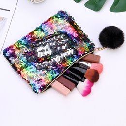 glitter makeup pens NZ - Mermaid Sequins Envelope Bag Cosmetic Makeup Bag Handbag Pen Pencil Bag Glitter Coin Wallet Zipper Clutch Pouch Evening Party with Pendant