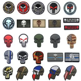 Wholesale military punisher patches for sale - Group buy Punisher Patches Embroidered PVC Military Punisher Skull patch Stripes Tactical thin blue line flag patches with Hook Loop