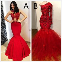 $enCountryForm.capitalKeyWord Australia - Red New Design Mermaid Prom Dresses Appliques High Neck Sexy Formal Evening Dresses Sweep Train Satin Luxury Fashion Cocktail Party Gowns