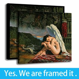 Support Painting Australia - Bedroom Decor Canvas HD Print Angel Girl Painting Michael Cheval Art Framed Art - Ready To Hang - Support Customization