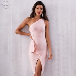 one sleeve evening dresses Australia - 2019 New Bandage Dress Summer Women One Shoulder Cap Sleeve Celebrity Evening Party Dress Sexy Sleeveless Bodycon Club Dress Vestidos