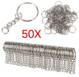 metal rings 25mm UK - Polished Silver Color 25mm Keyring Keychain Split Ring with Short Chain Key Rings Women Men DIY Key Chains Accessories 50pcs