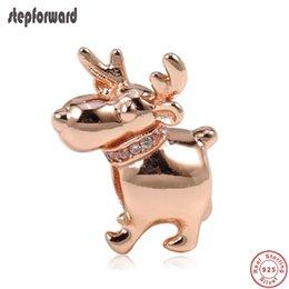 $enCountryForm.capitalKeyWord Australia - New Arrival Good Quality Christmas Gift Jewelry 925 Sterling Silver Rose Reindeer Charm Fit Bracelet