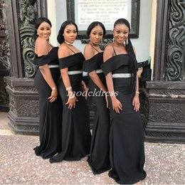 Cheap Red Coral Beads Australia - 2019 Black African Mermaid Bridesmaid Dresses Spaghetti Sash Beads Garden Country Black Girl Wedding Guest Gowns Maid Of Honor Dress Cheap